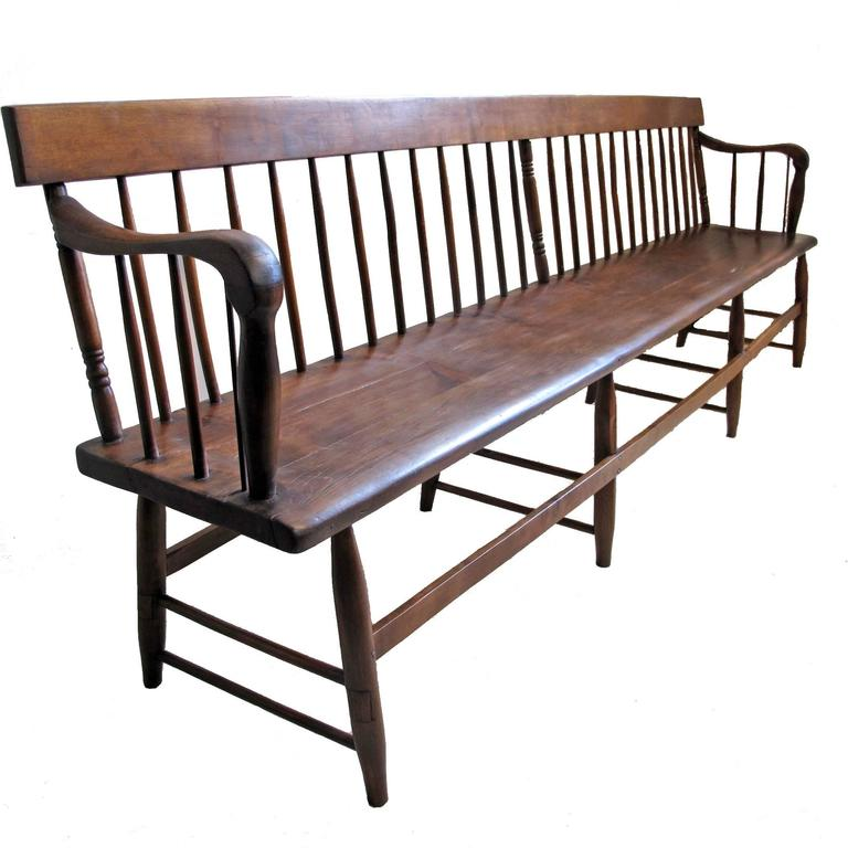 Extraordinary Pine And Mixed Wood Spindle Back Bench American 19th Century At 1stdibs