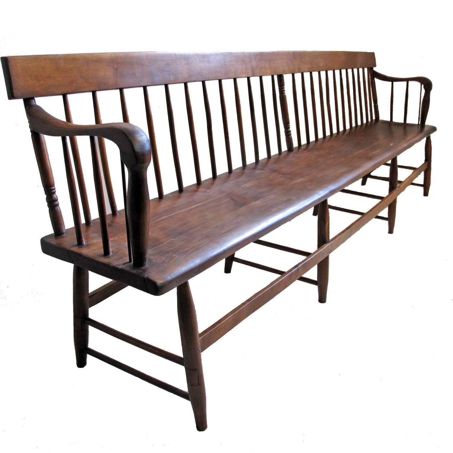 Wood Bench With Back ~ Extraordinary pine and mixed wood spindle back bench