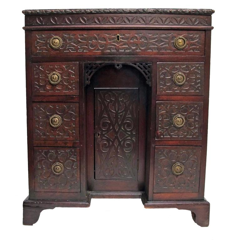 Mahogany Childs Desk with Blind Fret Hand Carving English For Sale 3