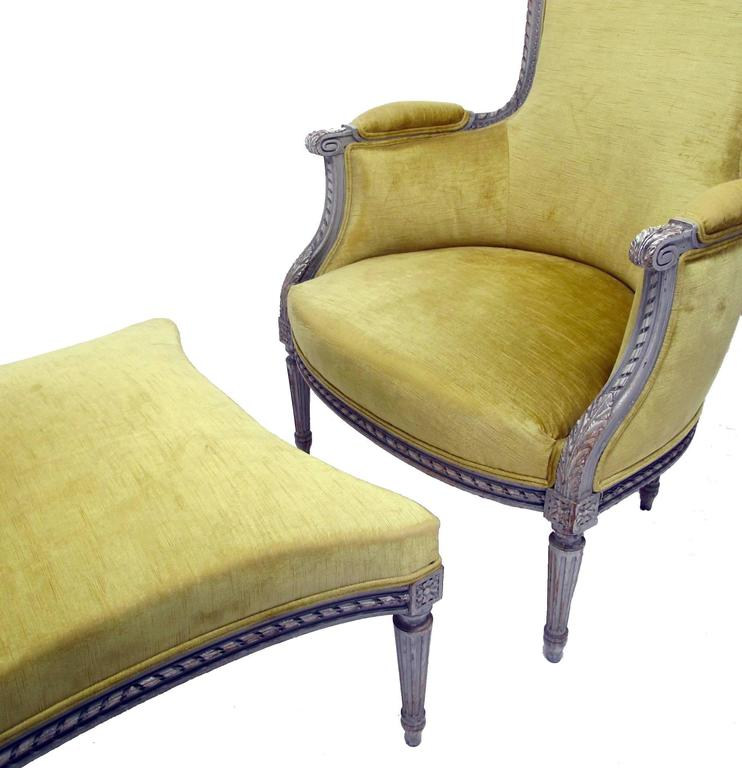 Hand Carved French Louis XVI Style Bergere Chair With Ottoman, Circa 1920s  For Sale