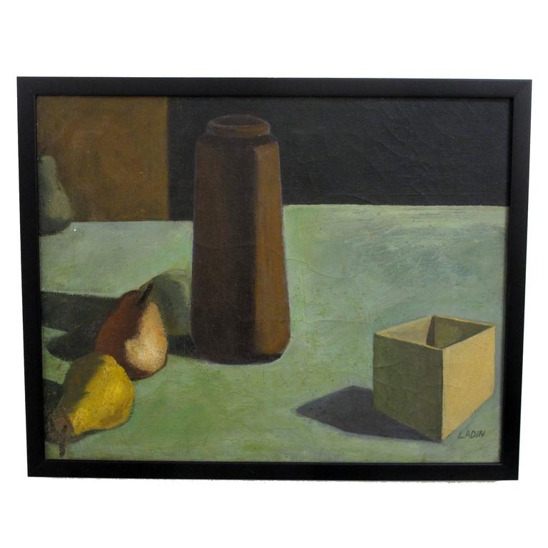 Mid-Century Modern Still Life Painting by David Ladin, American Mid 20th Century For Sale