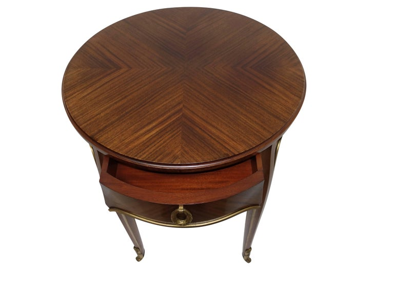 Louis XVI Style Mahogany Side Table with Drawer, French Early 20th century For Sale 1