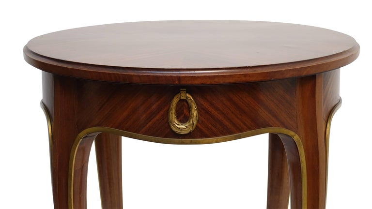 Louis XVI Style Mahogany Side Table with Drawer, French Early 20th century In Excellent Condition For Sale In San Francisco, CA