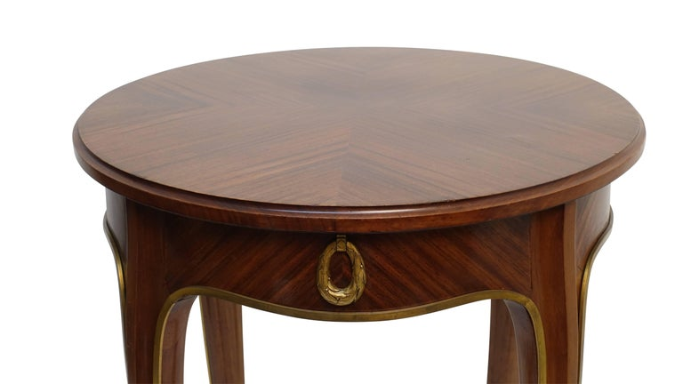 Brass Louis XVI Style Mahogany Side Table with Drawer, French Early 20th century For Sale