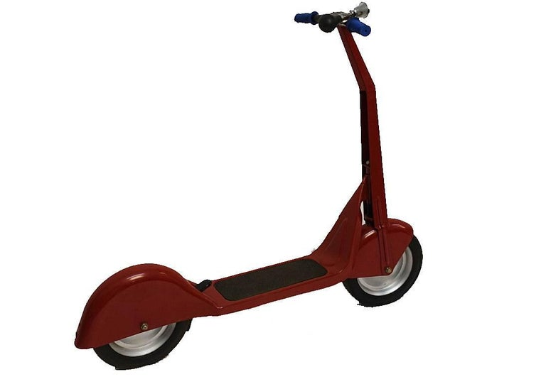 Steel child's size scooter. In excellent vintage condition, over painted in the original red color. Scooter appears to not have any makers marks, American, 1940s.