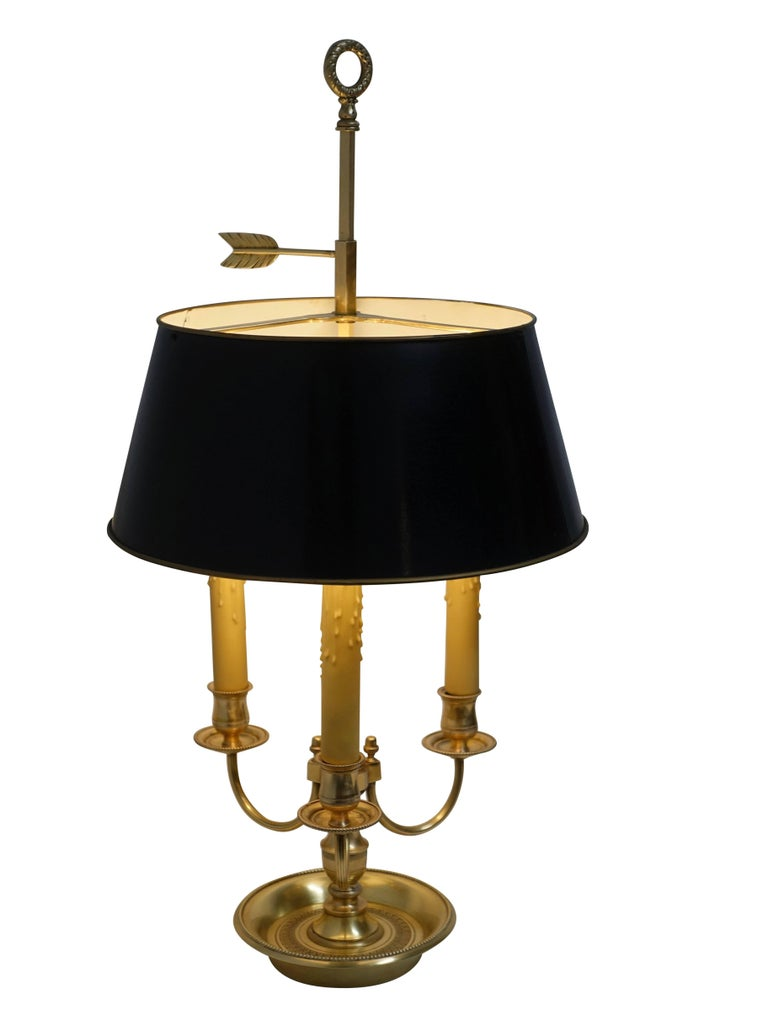 Fine quality Louis XVI style three-light bouillotte lamp with original black tole shade. The shade has an aged crackle finish. France, circa 1940.