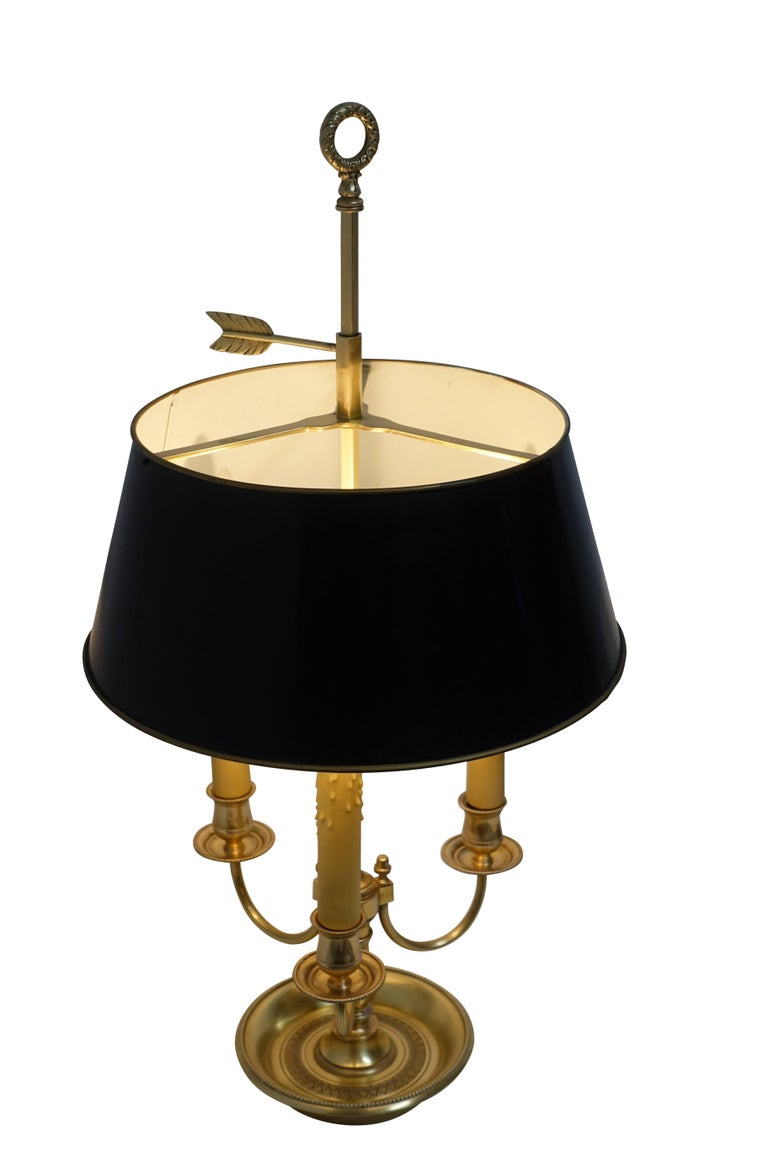 20th Century French Louis XVI Style Brass Bouillotte Lamp For Sale