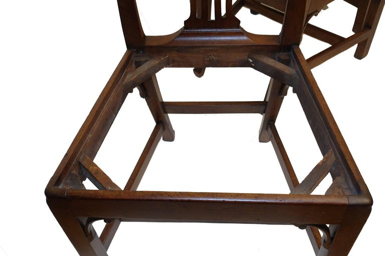Set of Six Chippendale Style Walnut Dining Chairs circa 1800 8