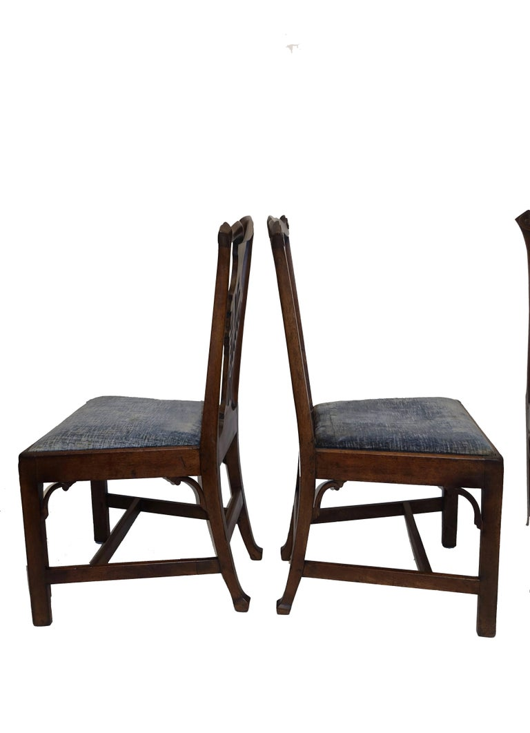 Set of Six Chippendale Style Walnut Dining Chairs circa 1800 6