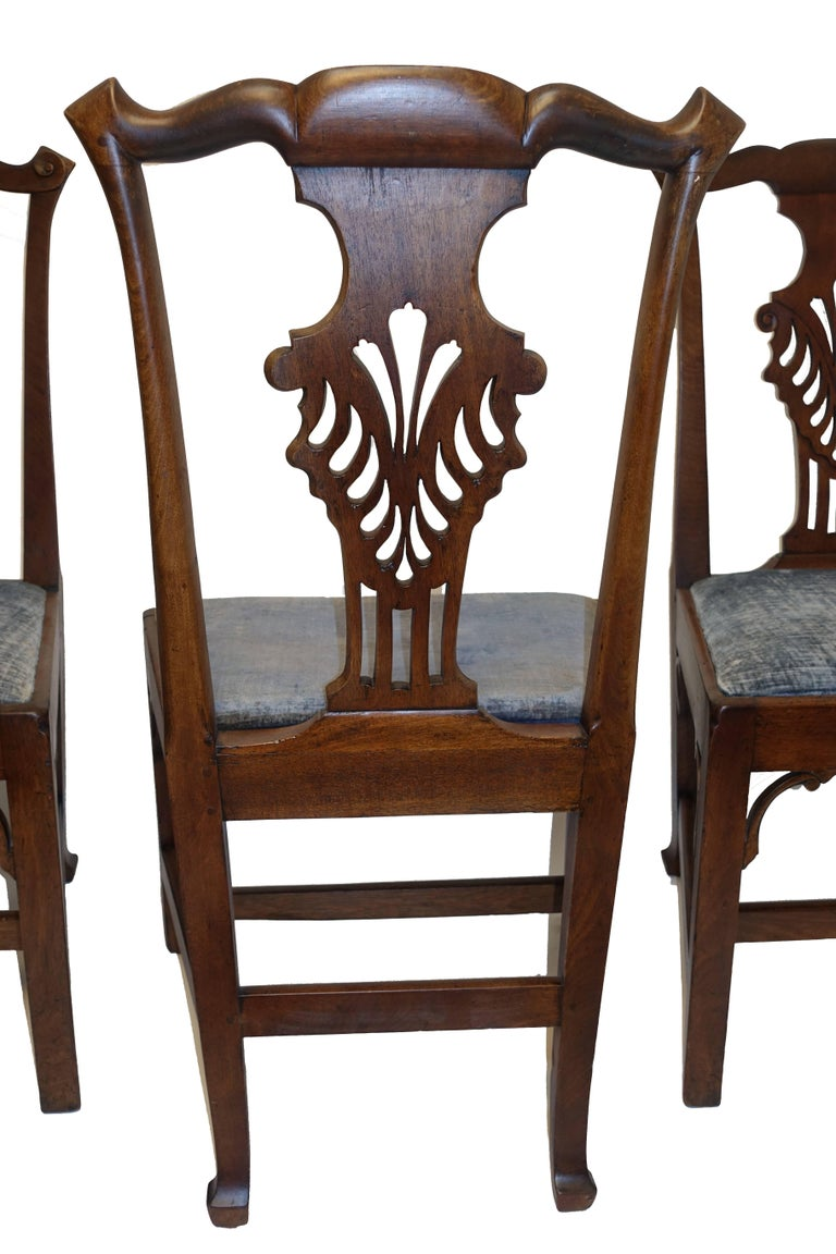 Set of Six Chippendale Style Walnut Dining Chairs circa 1800 7