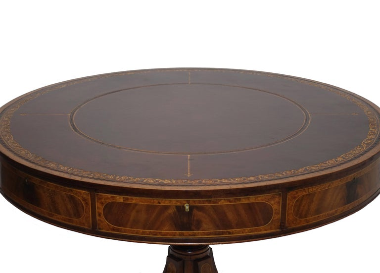 19th Century English Georgian Mahogany Rent Table or Library Table For Sale
