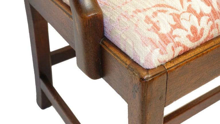 Fabric Georgian Mahogany Ribbon Carved Back Splat, English, 19th Century For Sale