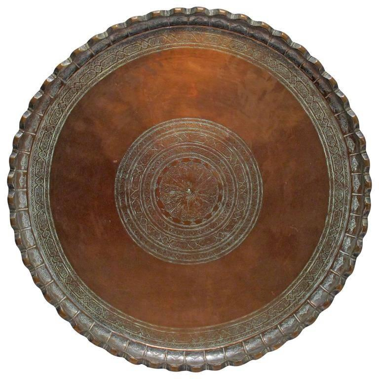 19th Century Persian Copper Tray on Stand Table 3