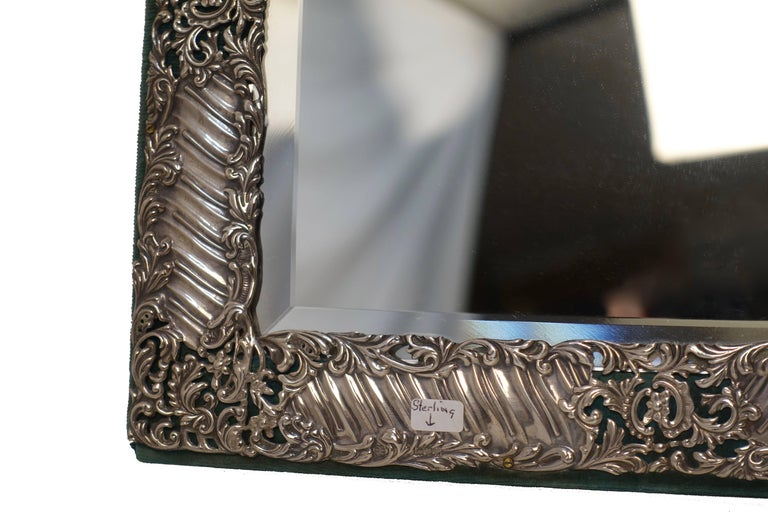 Sterling Silver and Velvet Dressing Table Mirror, England, Late 19th Century 9