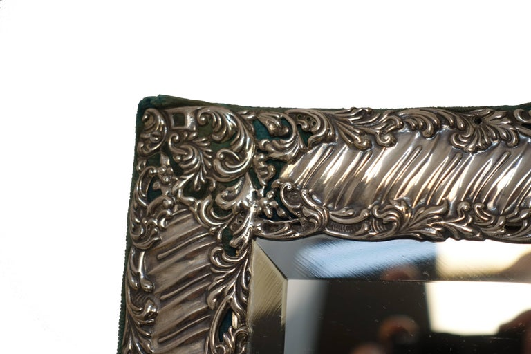 Sterling Silver and Velvet Dressing Table Mirror, England, Late 19th Century 10