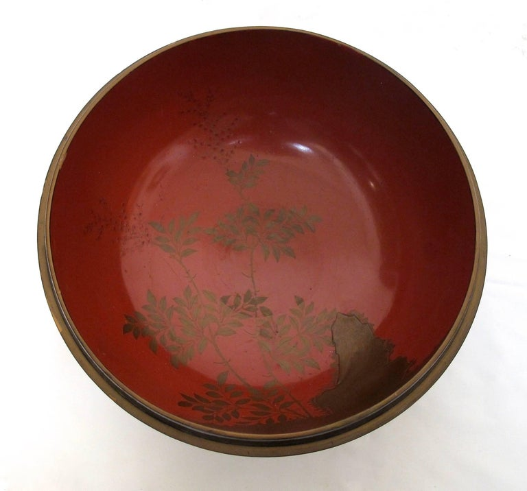 19th Century Japanese Meiji Period Lacquered Lidded Bowl For Sale