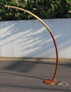 Italian and  Brass and  Leather Floor Lamp