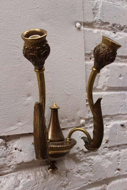 Italian Bronze Wall Sconces In Excellent Condition For Sale In Los Angeles, CA