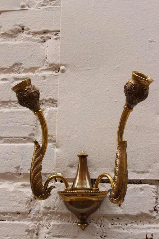Mid-20th Century Italian Bronze Wall Sconces For Sale