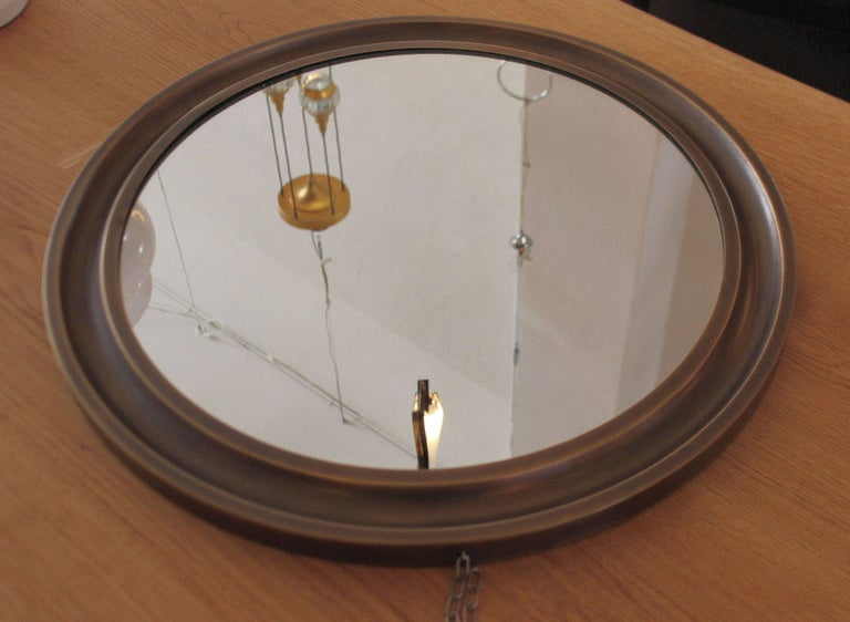 Sergio Mazza Pair of Brass Mirrors In Excellent Condition For Sale In Los Angeles, CA
