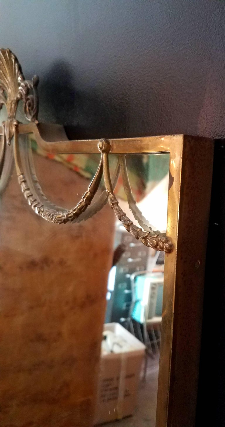 Italian Venetian Brass Full Length Mirror In Excellent Condition For Sale In Los Angeles, CA