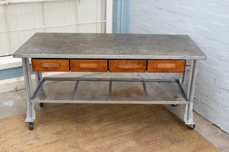 Mid-Century Modern Industrial Table and Four Chairs For Sale