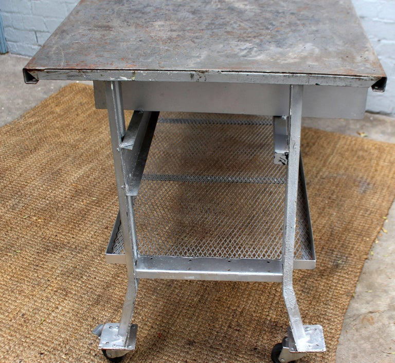Industrial Table and Four Chairs For Sale 1