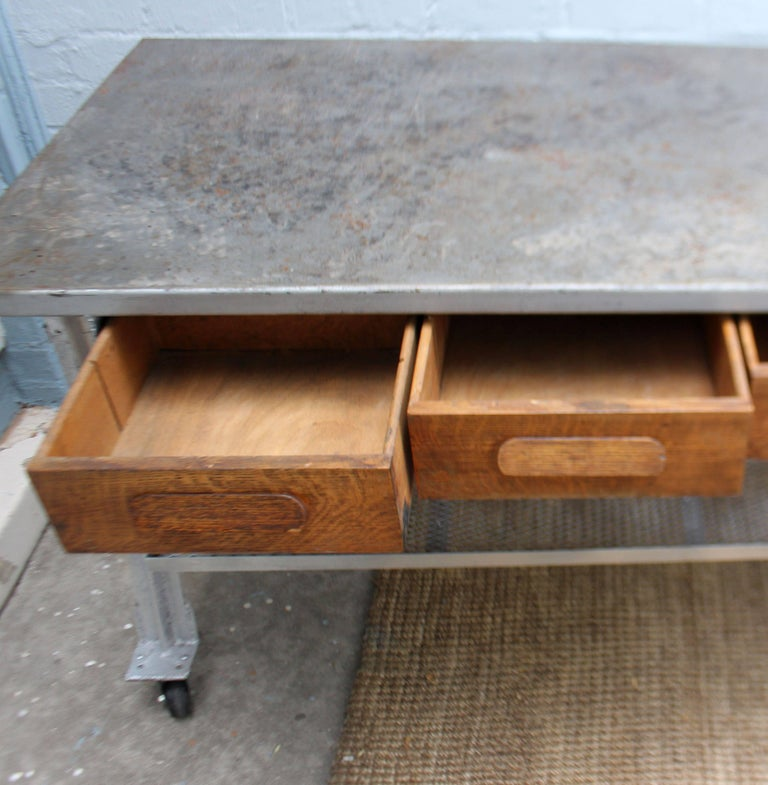 Mid-20th Century Industrial Table and Four Chairs For Sale