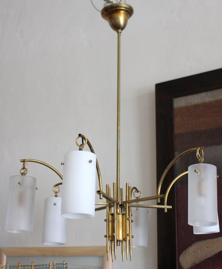 Mid-20th Century Stilux Milano Italian Brass Chandelier For Sale