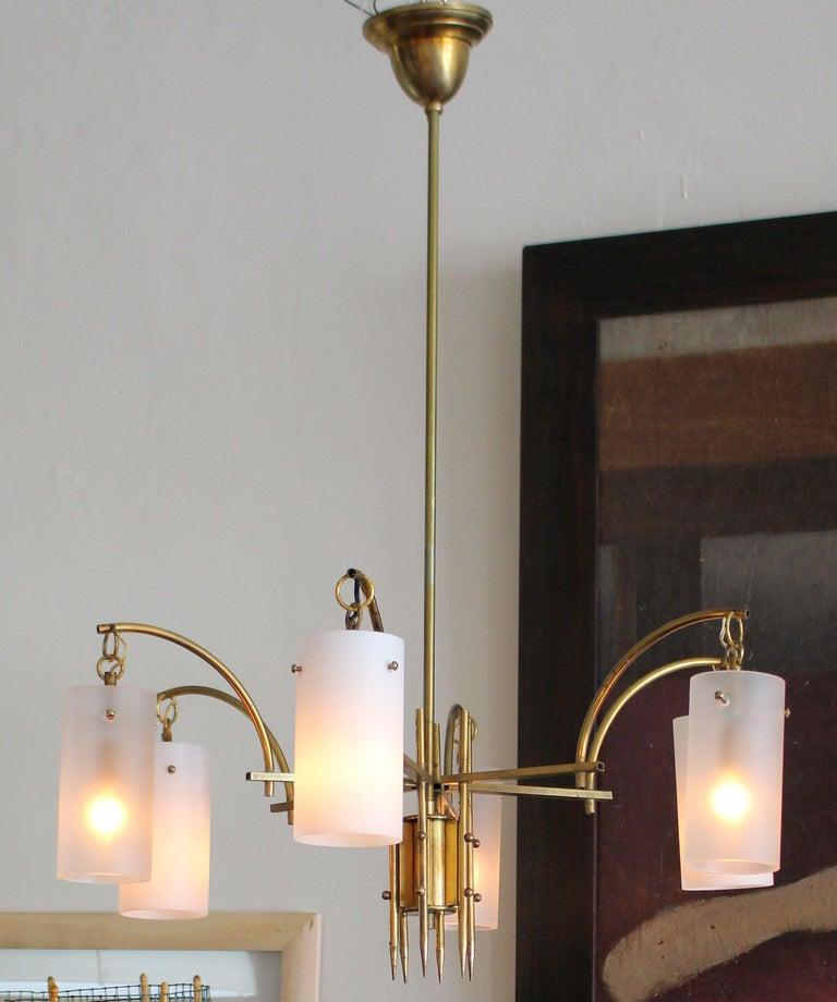 Stilux Milano Italian Brass Chandelier For Sale 1