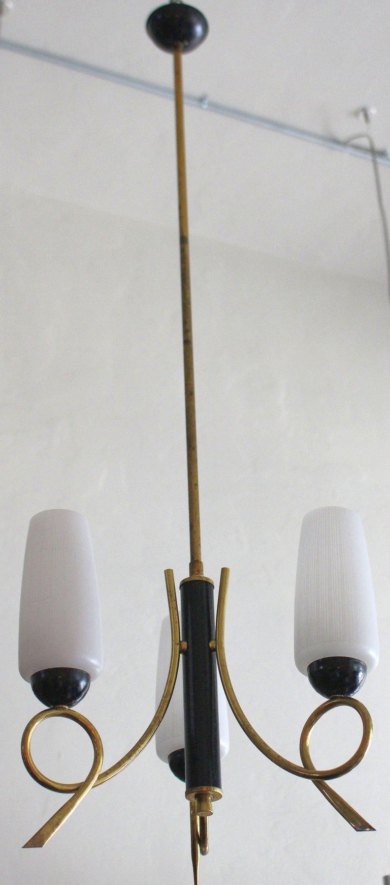 1950s Italian brass chandelier, Murano three glass shades.