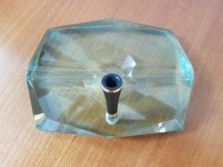 Green glass base with the black Bakelite and bras pen holder.