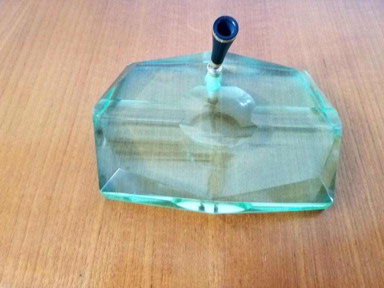 Mid-Century Modern Green Glass Pen Holder by Fontana Arte, 1950s For Sale