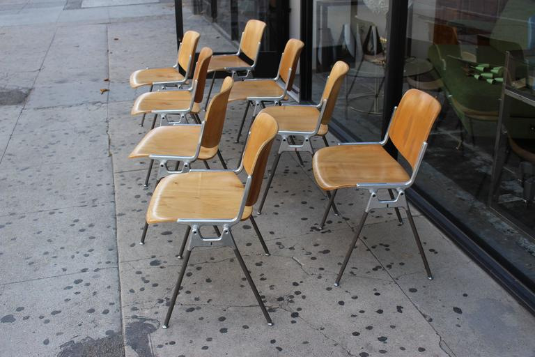 Set of Four Italian Chairs Designed by Giancarlo Piretti for Castelli In Good Condition For Sale In Los Angeles, CA