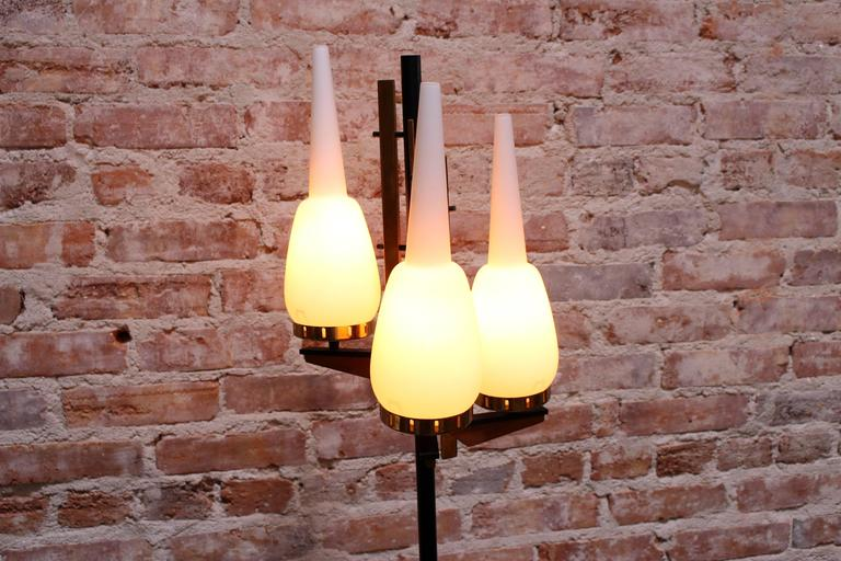 1950s Italian floor lamp combination of Palisander wood and brass.