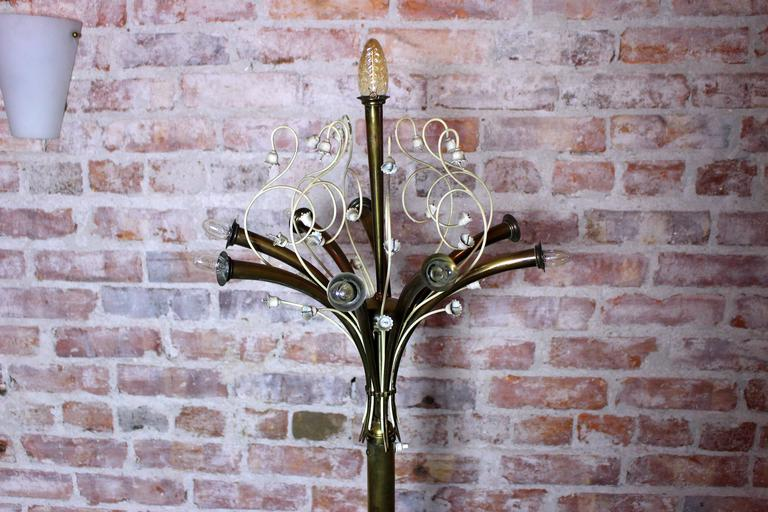 Mid-Century Modern Italian Brass Floor Lamp For Sale