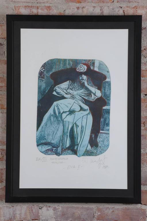 Aquatinta art technique combination by Rajko Kovacevic Yugoslavian Academic artist he was leaving and work in Italy in the late 1970s and begging of eighties inspired by Venice Carnival create a this three aquatint-a paintings.