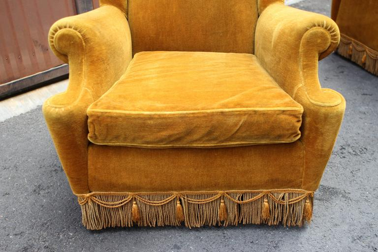 Italian Pair of High Wing Back Chairs For Sale 2