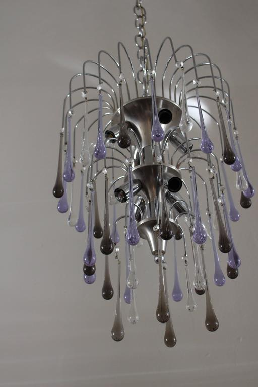 Italian Vetreria Murano tier drop chandelier chrome base fume and lavender color crystal glass.