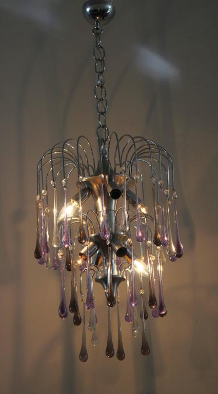 Art Deco Murano Tier Drop Chandelier For Sale