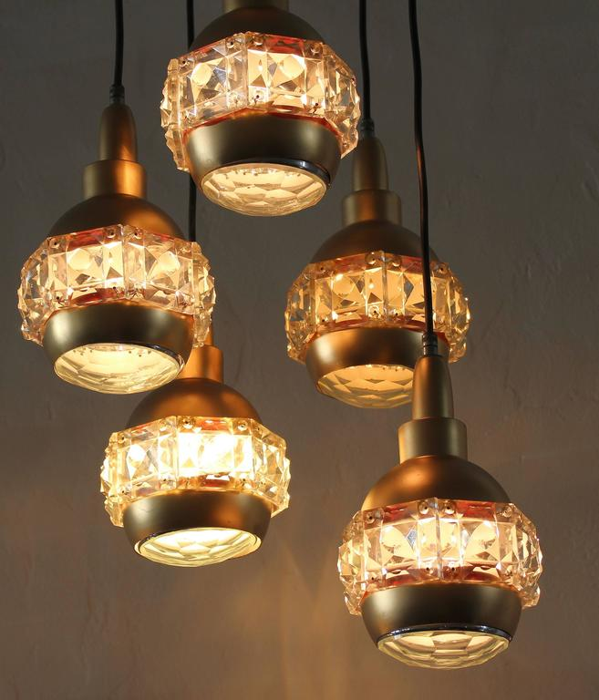 Mid-Century Modern Italian Midcentury Chandelier Attributed to O'luce For Sale