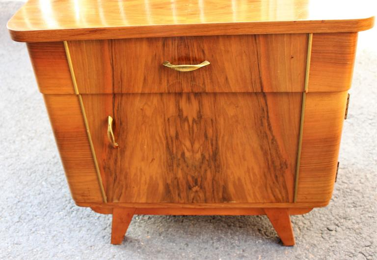 Mid-20th Century Austrian Deco Pair of Veneer Nightstands For Sale