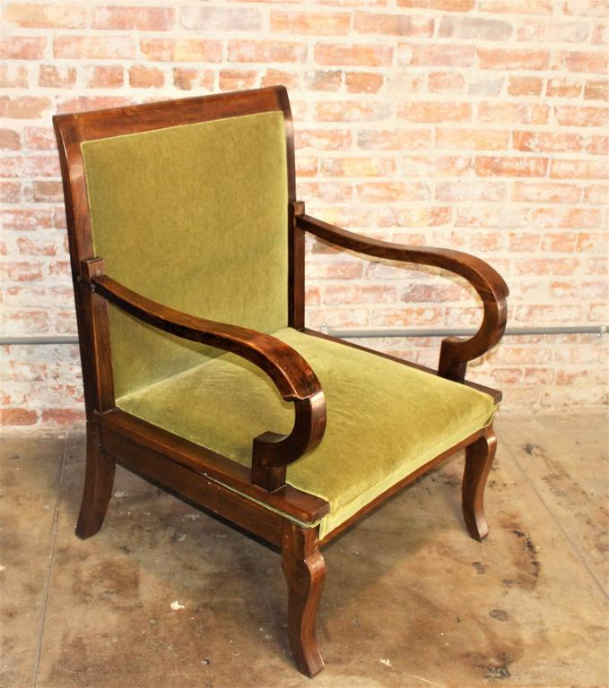 French Art Deco chair. Walnut frame French polish finish and new upholstery green Mohair. Chair convert in to the daybed. Chair extended circa 75 inches.