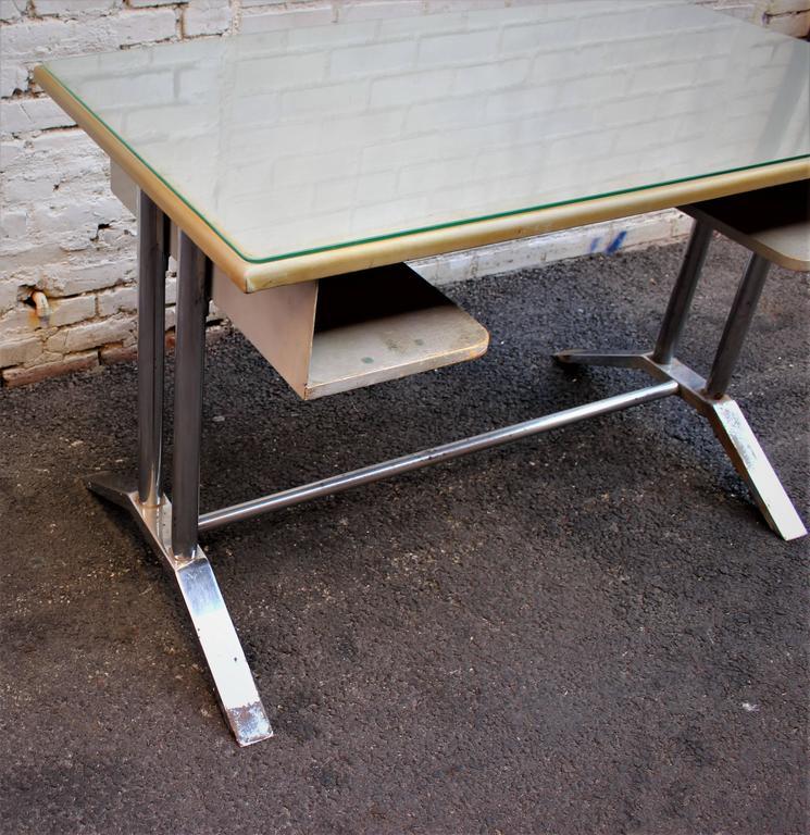 Italian desk buy Poli, metal base tarnish chrome.