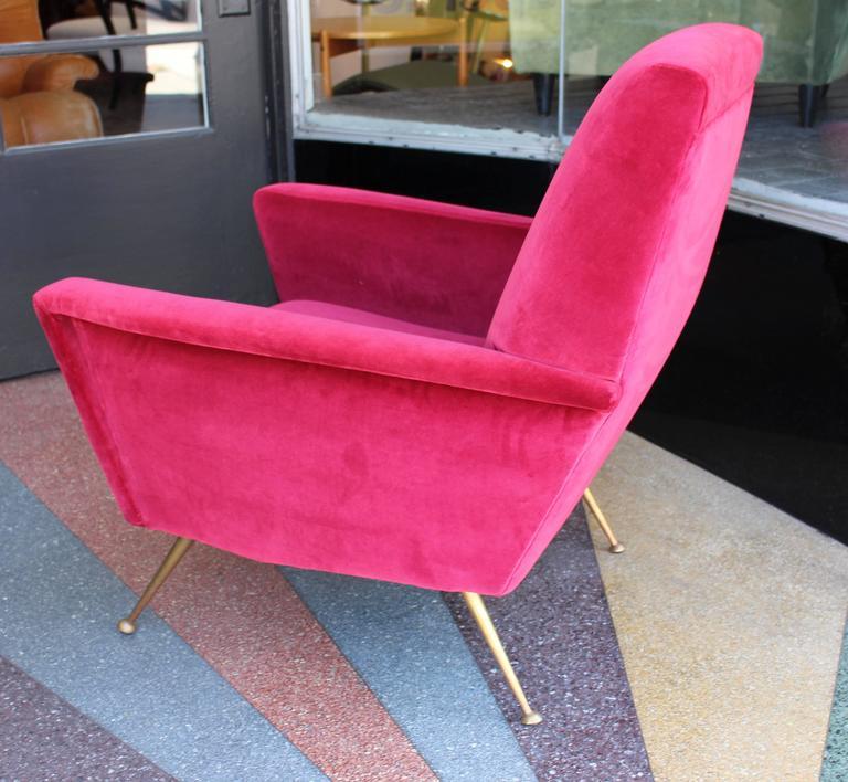 Refurbish and reupholstered Italian 1950s chair . Brass legs ,cotton velvet.