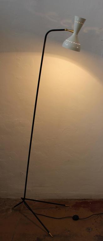 Pair of Italian floor lamps in style Arredoluce. Floor lamps are made buy by Studio ACA Castelfranco Veneto.