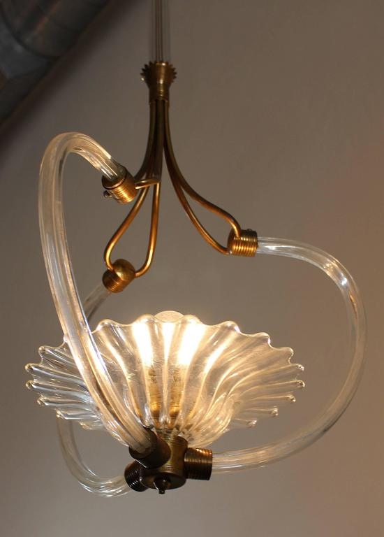 Art Deco Murano Chandelier by Ercole Barovier For Sale 1