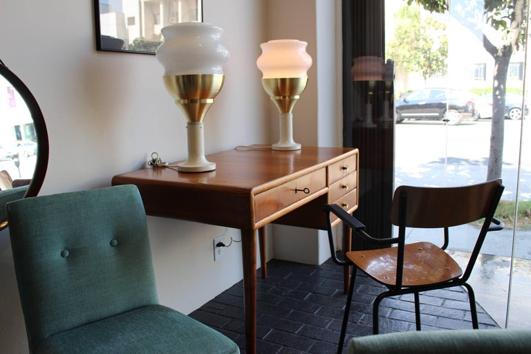 Opaline glass and brass Italian table lamps.