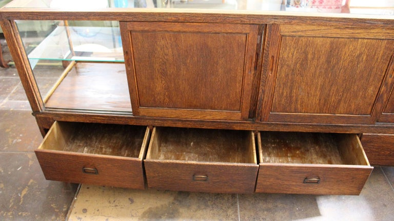 Oak Antique Glass Case by Grand Rapid Store Equipment For Sale