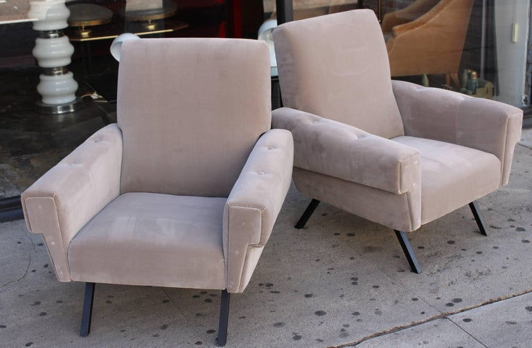 Italian midcentury lounge chairs. New reupholstered in grey cotton velvet. Comfortable seating.